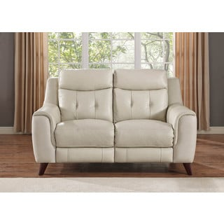 Hydeline by Amax Paramount Top Grain Cream Leather Power Reclining Loveseat