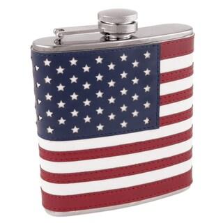 True 3083 6 Oz American Flag Flask