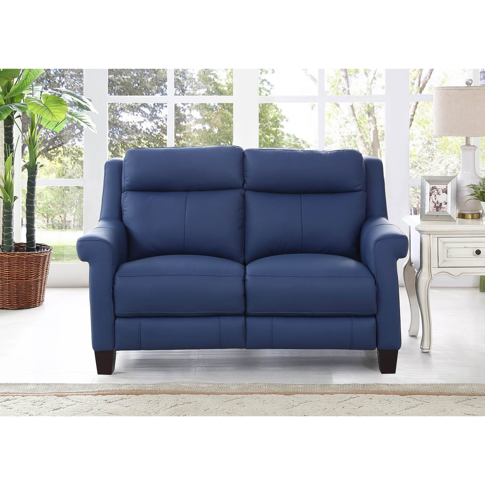 Shop Hydeline By Amax Dolce Top Grain Blue Leather Power Reclining Loveseat Sofa Overstock 14639175