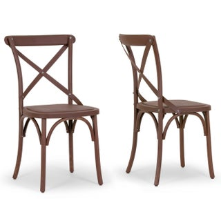 Aleah Outdoor/Indoor Cross Back Dining Chair (Set of 2)