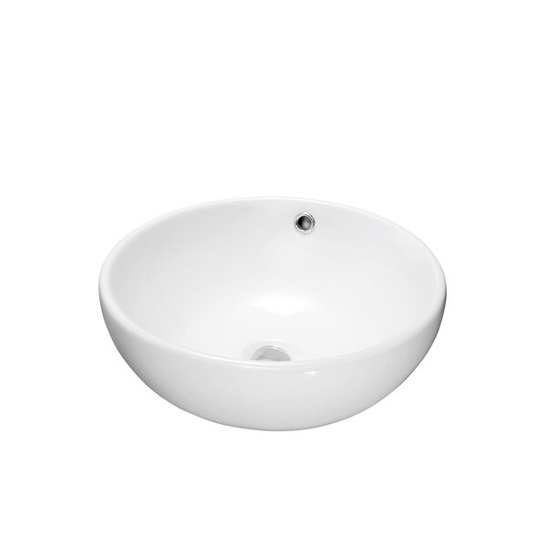 Dawn® Vessel Above-Counter Round Ceramic Art Basin with Overflow