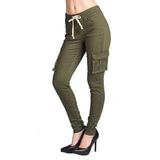 JED Women's Twill Cotton and Spandex Drawstring Waist Cargo Pants