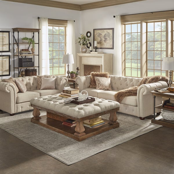 Knightsbridge beige fabric button tufted chesterfield room for B q living room furniture