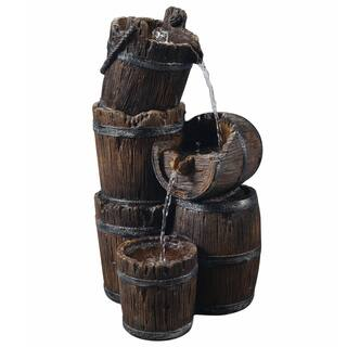Teamson Peaktop Vintage-style 3-tier Outdoor Barrel Waterfall Fountain