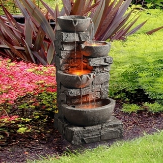 "Peaktop - Outdoor Stacked Stone Tiered Bowls Fountain with LED Lights - 16.3""L x 15.6""W x 33""H"
