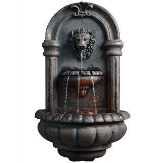 Teamson Peaktop Wallfall Grey Polyresin Outdoor Lion Head LED-lit Fountain
