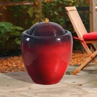 Peaktop - Gradient Red Polyresin Outdoor Pot Fountain - N/A