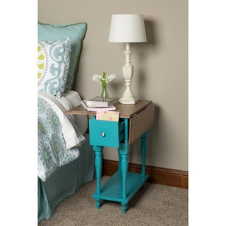 Kate and Laurel Sophia Rustic Wood Top Drop Leaf End Table