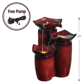 Peaktop - Outdoor 3-Tier Glazed Pots Fountain - Gradient Red