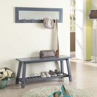 Grey Finish Wood Bench with Matching Mirror
