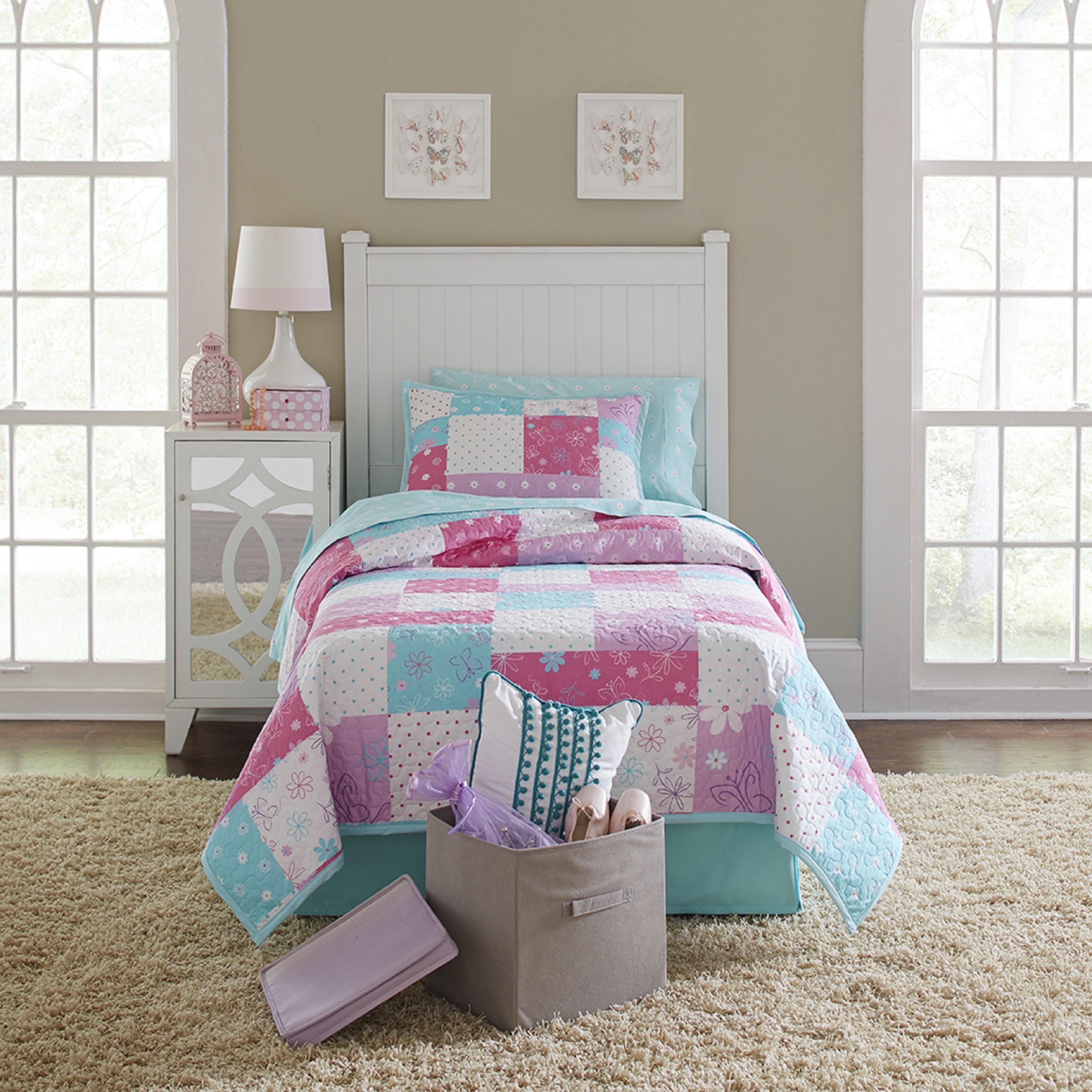 Floral Butterfly Blue Kids Girl Room Soft Bedspread Coverlet Quilt Shams 2//3PC