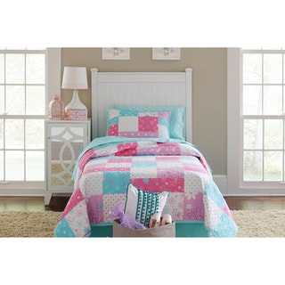 Lullaby Bedding Butterfly Garden 100% Cotton Printed 3-piece Quilt Set