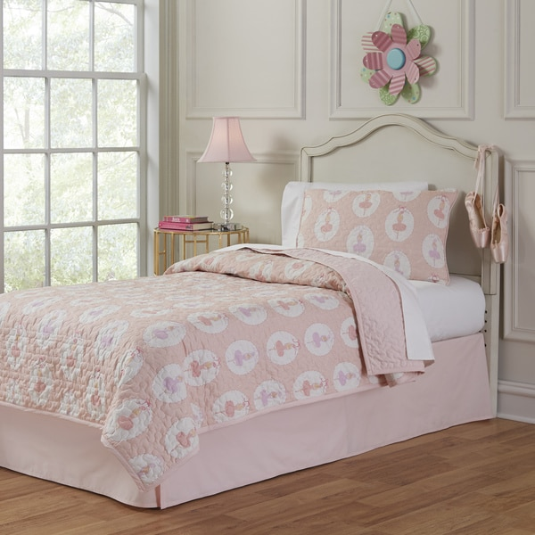 Lullaby Bedding 100-percent Cotton Ballerina Printed 3-piece Quilt Set