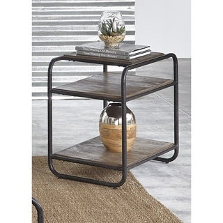 Loft House Wire Brush Weathered Brown and Black Metal Chair Side Table