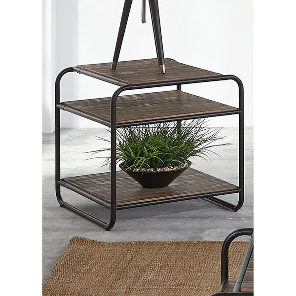Loft House Wire Brush Weathered Brown and Black Metal End Table