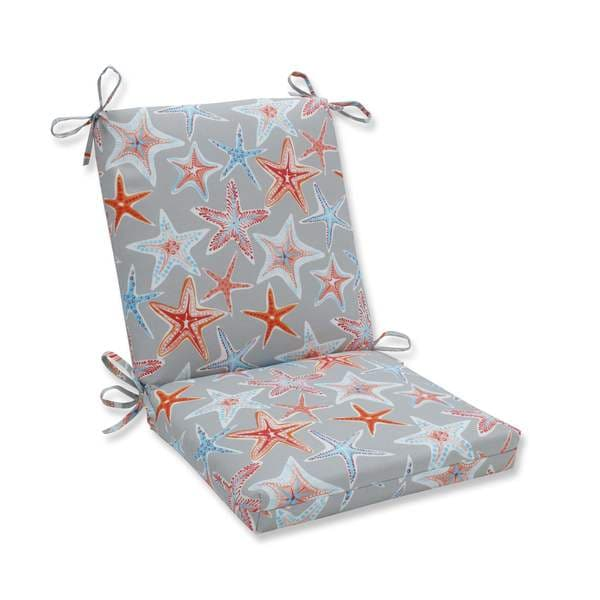 Pillow Perfect Outdoor/ Indoor Stars Collide Pewter Squared Corners Chair Cushion