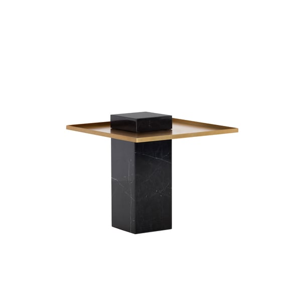 Shop Verona Black And Gold Marble End Table On Sale Free