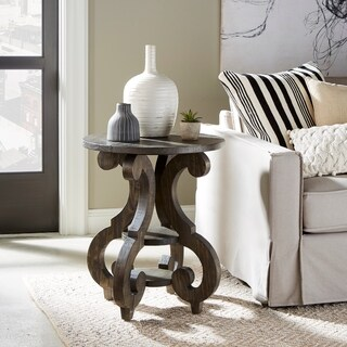 Bellamy Traditional Weathered Peppercorn Round Accent Table