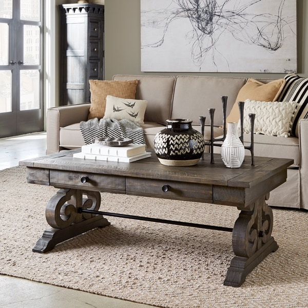 Shop Bellamy Traditional Weathered Peppercorn Storage Coffee Table