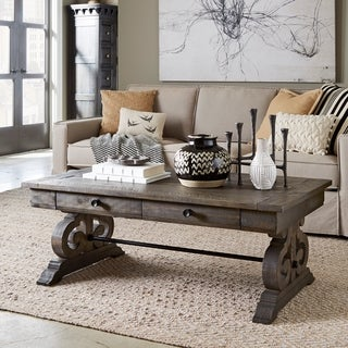 Bellamy Traditional Weathered Peppercorn Storage Coffee Table