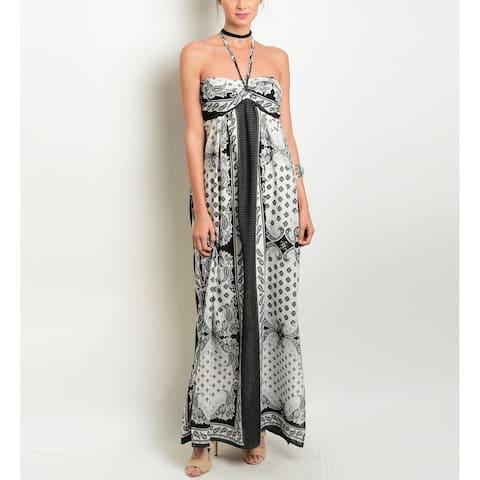 JED Women's Paisley Print Halter Flowy Maxi Dress