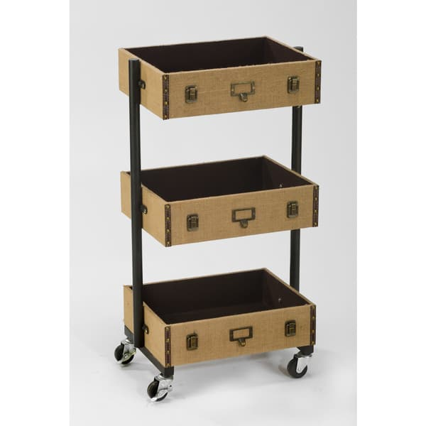 Shop 3-Tier Burlap Library Cart - Narrow - Free Shipping ...