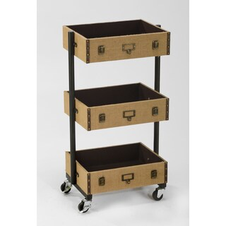 3-Tier Burlap Library Cart - Narrow