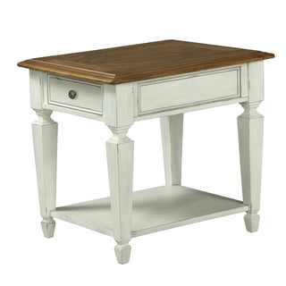 Chadsworth Rectangular End Table in Antique Plastered White and Aged Honey