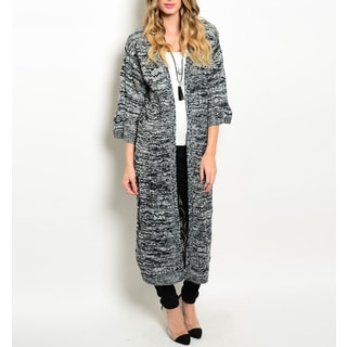 JED Women's Charcoal Knit Quarter-sleeve Chunky Maxi Cardigan