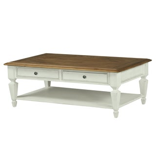 Chadsworth Antique Plastered White and Aged Honey Cocktail Table with Casters