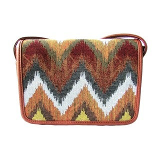 Red Pomegranate Jungle Chevron 10-inch Crossbody Messenger Bag