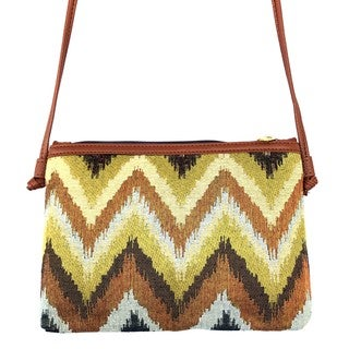Red Pomegranate Jungle Chevron 12-inch Crossbody Handbag
