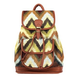Red Pomegranate Jungle Chevron 14-inch Fashion Backpack