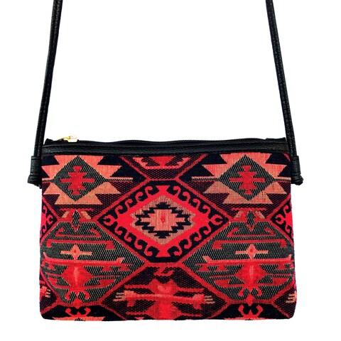 Red Pomegranate Kaftan 12-inch Crossbody Handbag