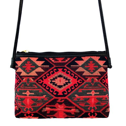 Red Pomegranate Kaftan 12-inch Crossbody Handbag