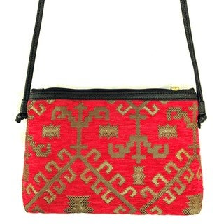 Red Pomegranate Kilm 12-inch Crossbody Handbag