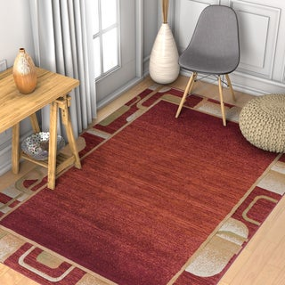 Well Woven Modern Geometric Border Solid Ombre Rug (5'3 x 7'3)