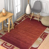 Well Woven Modern Geometric Border Solid Ombre Rug - 5'3 x 7'3