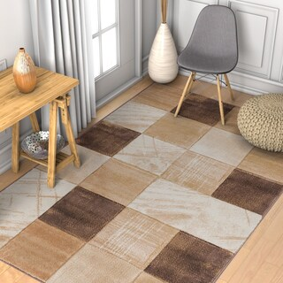 Well Woven Modern Geometric Color Blocks Rug (3'3 x 5') (Option: Brown)