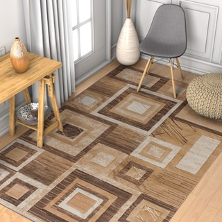 Well Woven Modern Geometric Squares Rug (3'3 x 5')