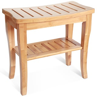 ToiletTree Deluxe Bamboo Shower Seat Bench with Storage Shelf