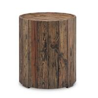 Pine Canopy Periwinkle Rustic Reclaimed Pine Round End Table
