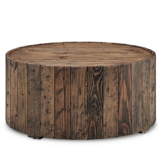 Dakota Rustic Reclaimed Pine Round Coffee Table With Casters