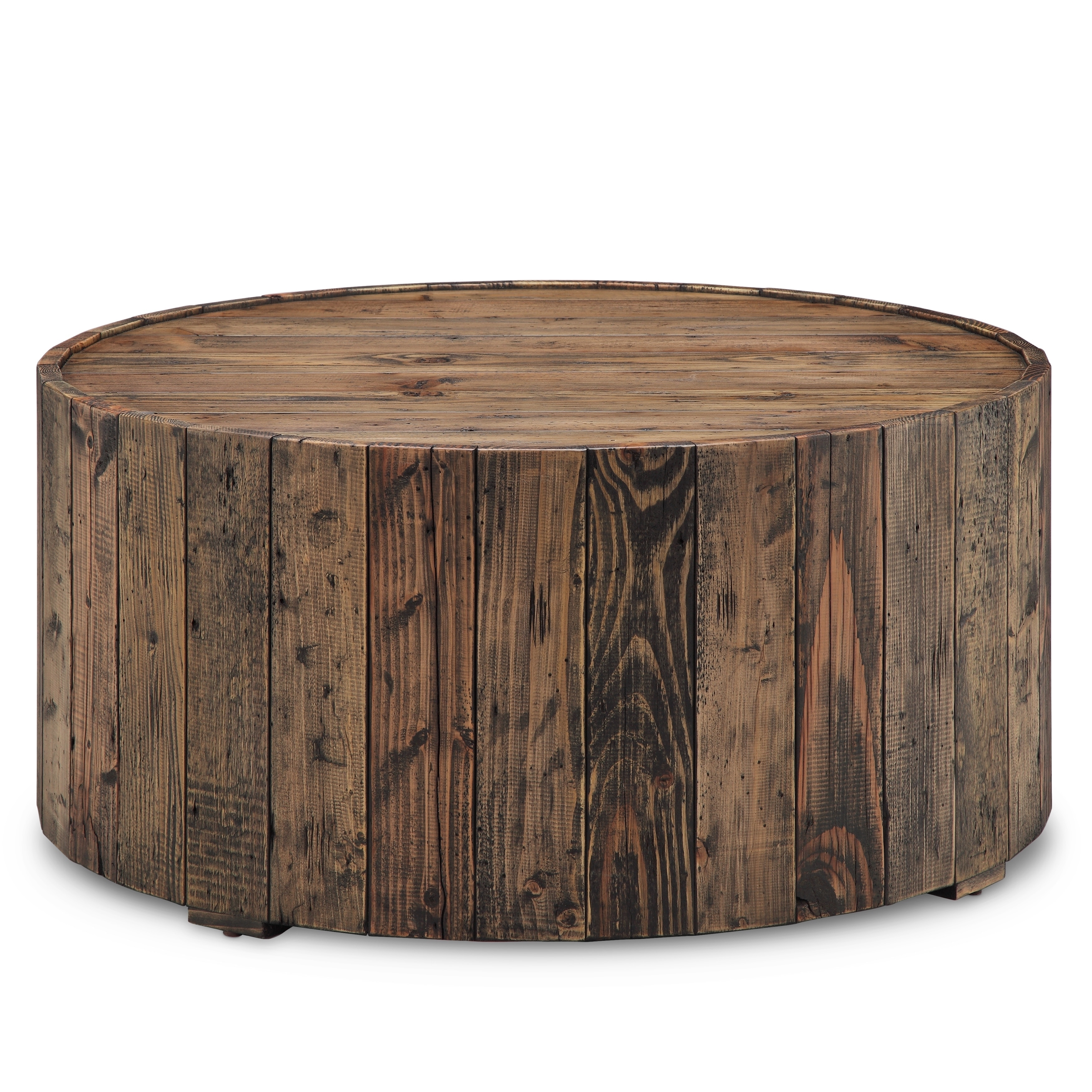 Carbon Loft Horace Rustic Reclaimed Pine Round Coffee Table With Casters