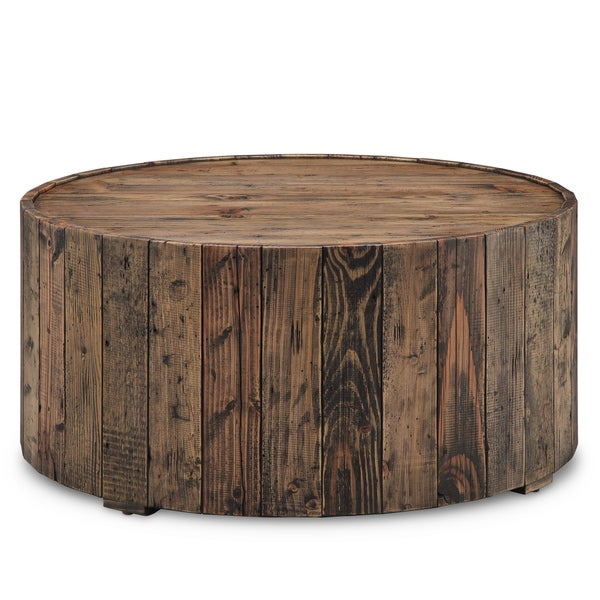 Rustic Round Wooden Coffee Table: Shop Carbon Loft Horace Rustic Reclaimed Pine Round Coffee