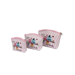 ALFA Owl Family Digital Print 3-piece Cosmetic Bag Set