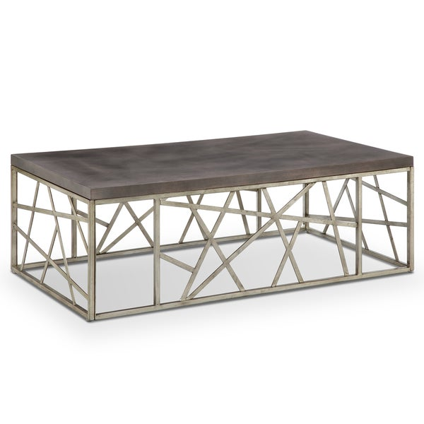 Tribeca Contemporary Distressed Silver And Smoke Grey Coffee Table