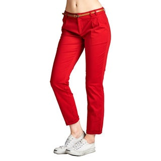 JED Women's Cotton/Spandex Woven Pants with Skinny Belt