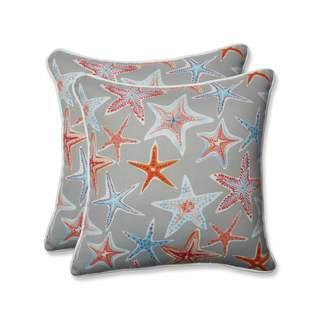 Pillow Perfect Outdoor/ Indoor Stars Collide Pewter 18.5-inch Throw Pillow (Set of 2)