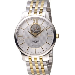 Tissot Men's T0639072203800 'Tradition Powermatic 80 Open Heart' Automatic Two-Tone Stainless Steel Watch|https://ak1.ostkcdn.com/images/products/14639556/P21179011.jpg?_ostk_perf_=percv&impolicy=medium
